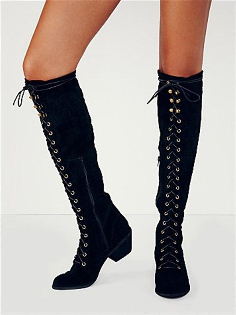 2018 Retro Autumn Winter Boots Mid Heel Grey Black Leather Cowboy Women Boots Lace Up Knee High Boots Shoes Woman Botas Mujer недорго, оригинальная цена