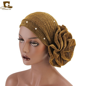 Image 3 - New fashion Women Muslim beaded glitter Turban India Cap Big Flower Headband Wedding Party Hair Lose Head Wraps Accessories