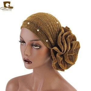 Image 3 - Turban à perles pour femmes, bandeau indien à grande fleur, accessoires pour fête de mariage, nouvelle mode, perte de cheveux, bandeau