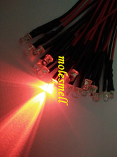 500pcs 3mm 12v Red water clear round led 12V DC 20cm Pre Wired LED red led Light lamp