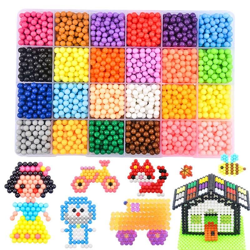 7200 piezas conjunto de la magia DIY cuentas de agua educativo de diy cuentas hecho a mano juguetes para niños de educación