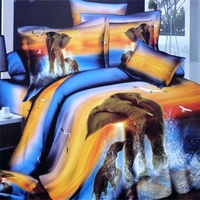 100 Cotton Bedroom Textiles 3D Elephant Comforter Sets Queen Size Include Quilt Cover Bedsheet Pillowcase 4