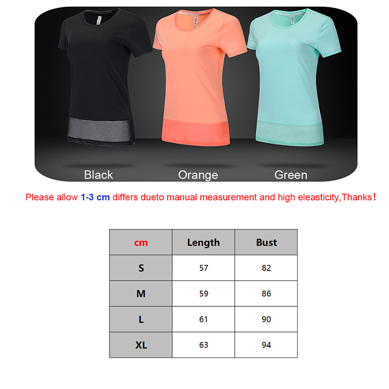 running - Yoga Shirt Women 2019 Fitness Training Sports Running Top Patchwork Mesh long Loose Short Sleeves New Workout Female T-shirt