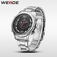 WEIDE genuíno steelin inoxidável relógio dos homens do esporte relógios de quartzo resistente à água analógico relógio automático relógio dos homens de negócios relógios