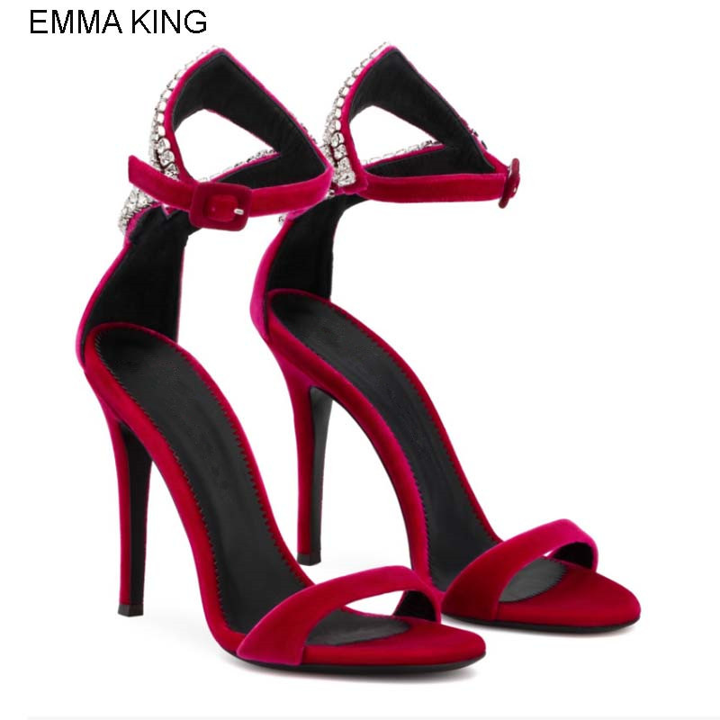 EMMA KING 2018 Hot Sell New Crystals Wedding Lady Shoes Summer Open Toes Women Sandals Sexy Party Buckle Strap Flock High Heels EMMA KING 2018 Hot Sell New Crystals Wedding Lady Shoes Summer Open Toes Women Sandals Sexy Party Buckle Strap Flock High Heels
