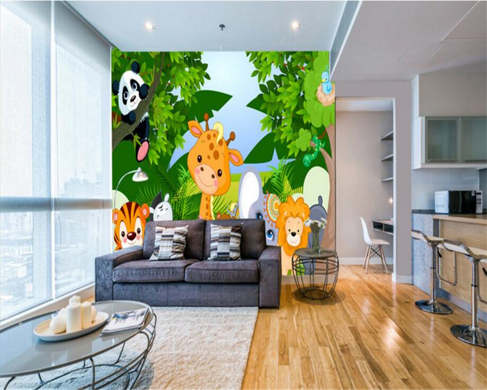 beibehang cute animal cartoon fashion personality wallpaper kids room 3d stereo bedroom background wall papel de parede tapety in wallpapers from home - Kids Bedroom Background