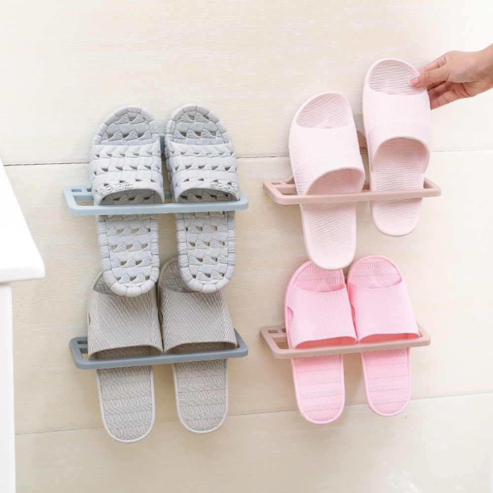 Storage Holder Home Plastic Wall Hanging Hanger Slippers Shelf Storage Organizer 201 Shoe Wall Paste Adjustable Organizer Holder