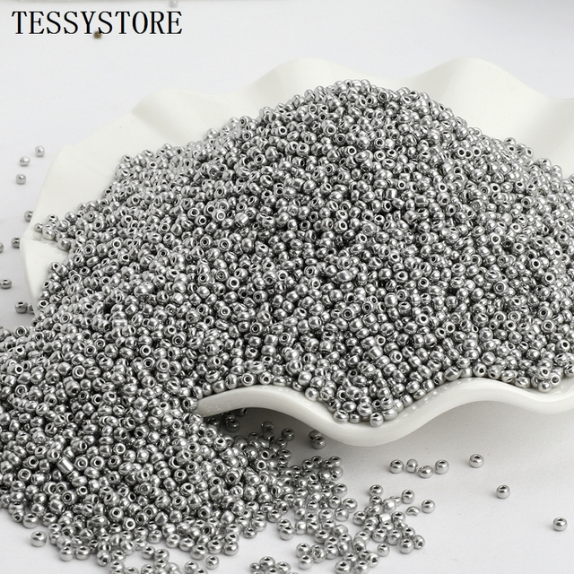 1000pcs/lot 2mm Czech Glass Seed Beads Gun Black Color Austria Crystal Round Hole Bead For Jewelry Making DIY Accessories