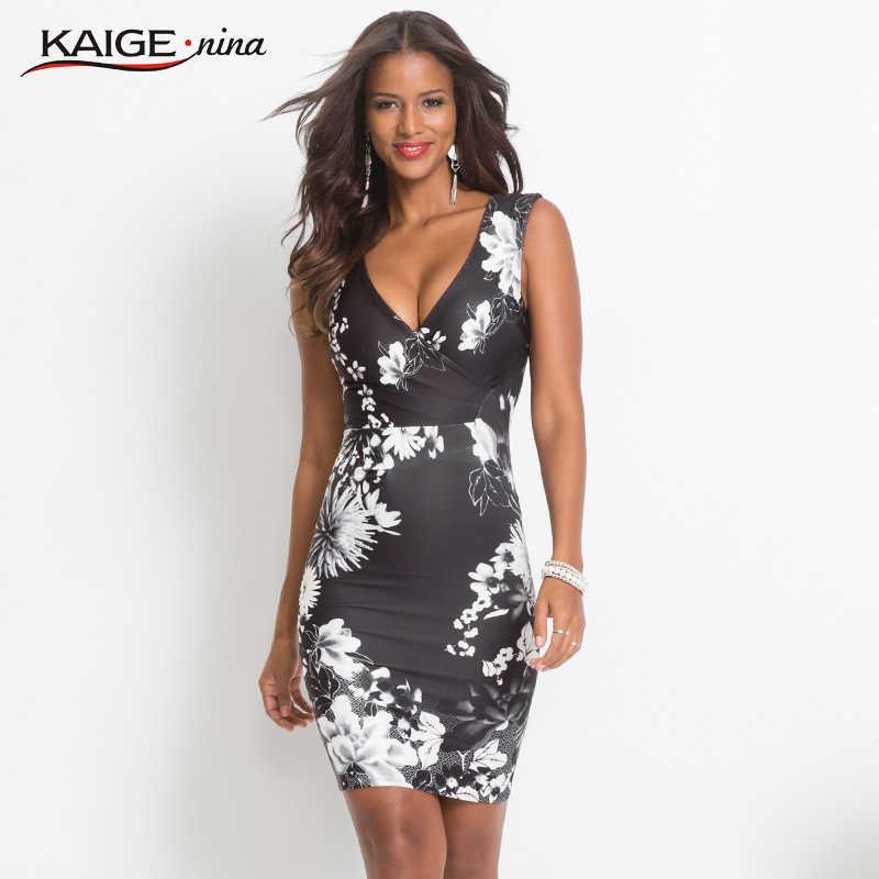 KaigeNina/летнее женское платье с цветочным принтом, с v-образным вырезом, без рукавов, сексуальное платье-футляр, новое модное Повседневное платье длиной по колено 18088