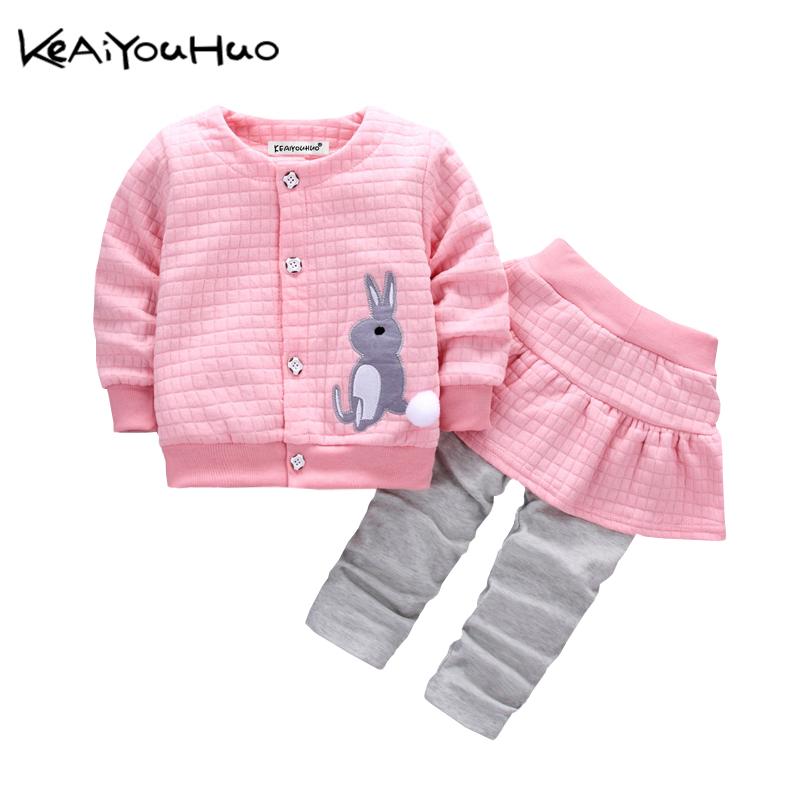 Clothing Sets Girls' Clothing Keaiyouhuo Newborn Baby Spring Autumn Girls Clothes Set Rabbit Cotton Coat+pants 2pcs Set Kid 0-2y Girls Pure Clothes Clothing To Clear Out Annoyance And Quench Thirst