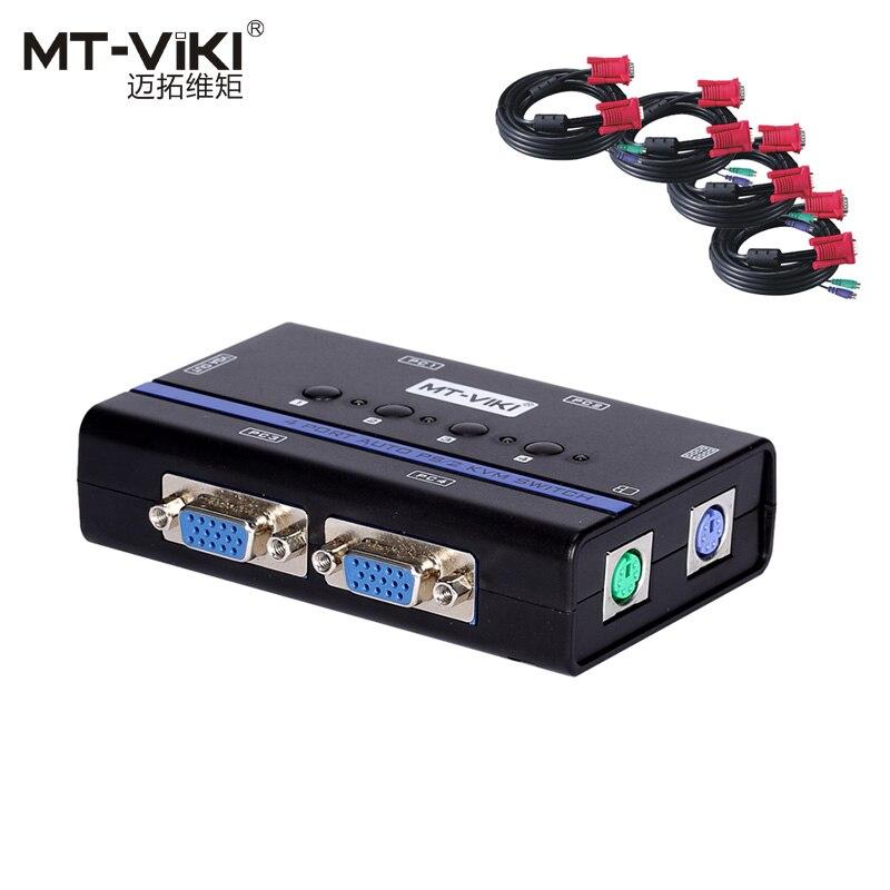 Mt-viki KVM commutateur 4 ports VGA PS/2 balayage automatique Hotkey Plug and Play pris en charge avec le câble d'origine pour 4 PC 1 moniteur MT-461SL
