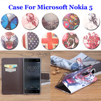 5 2 Left Right Painted High Quality For Microsoft Nokia 5 Case PU Leather Flip Book