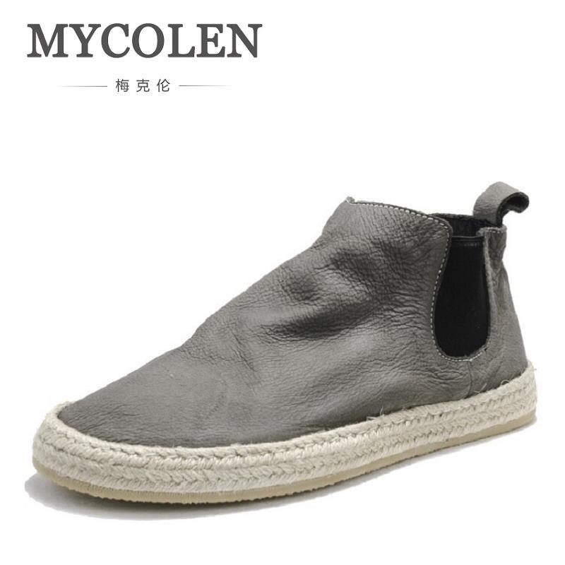 MYCOLEN Men's Boots Casual Men Shoes Winter Soft Bottom Chelsea Boots Men British Style Leather Ankle Autumn Men Winter Boots