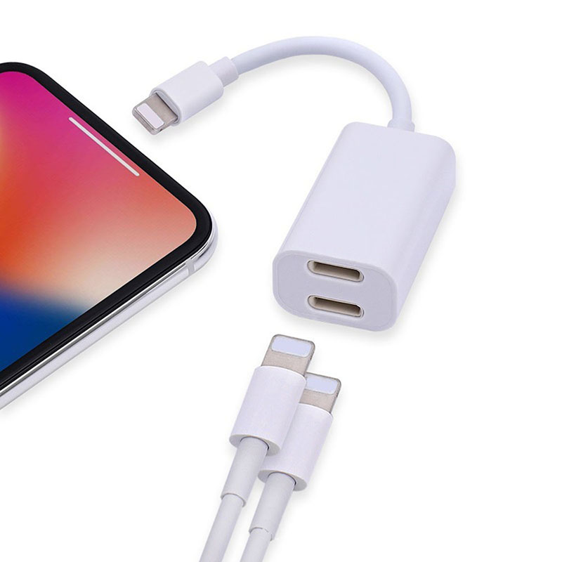 LinXiang Aux Headphone Audio Charger Cable Connector Dual Jack Adapter For Lightning Port iPhone 7 8 Plus X XS Max XR