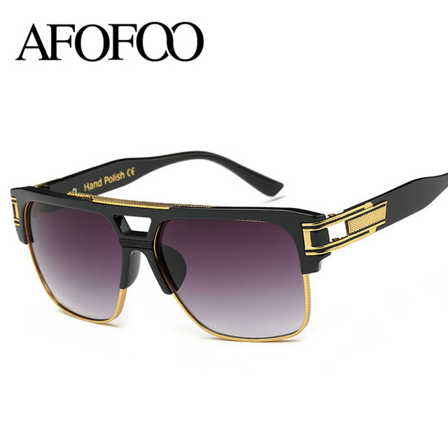 AFOFOO TOP Quality Luxury Men Brand Designer Sunglasses Fashion Women Oversized Mirror Sun glasses Vintage UV400 Square Shades