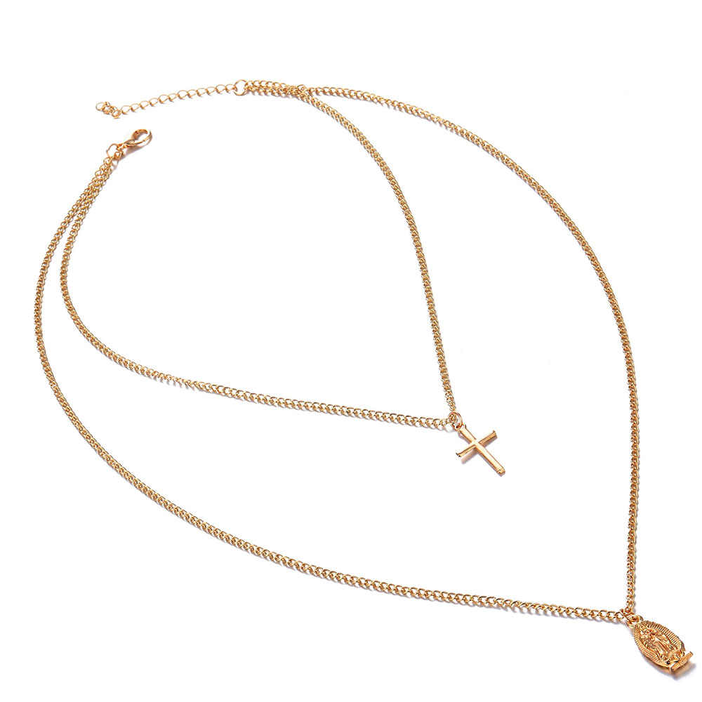 Vienkim Trendy Gold Color Cross Layered Necklace Jesus Virgin Mary Chain Pendant Necklace For Women Jewelry Mother Mary Gift2019