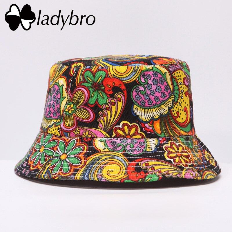 Ladybro brand primavera los hombres del casquillo del sombrero de las mujeres  sombrero del cubo plana señoras Sol sombrero Masculino Femenino floral  verano ... 81c68d0e7fc