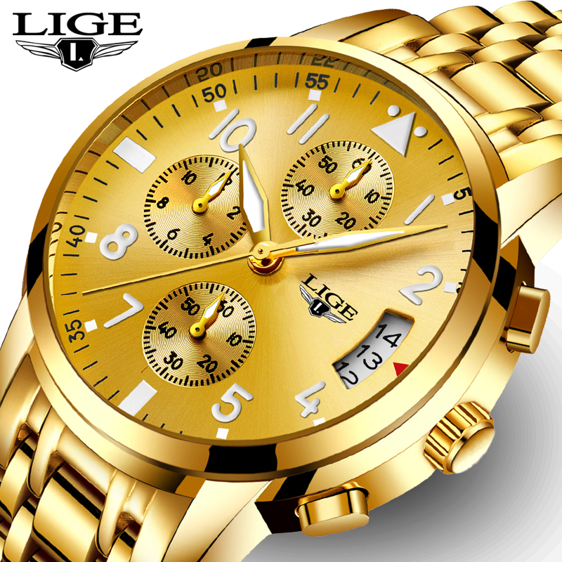LIGE Mens Watches Top Brand Luxury Fashion Business Quartz Watch Sport Full Steel Waterproof Gold Clock Men Relogio Masculino woonun top famous brand luxury gold watch men waterproof shockproof full steel diamond quartz watches for men relogio masculino