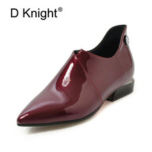 Patent Leather Women Oxford Shoes Vintage Pointed Toe Side Zipper Woman Flats Loafers Black Casual Flat for