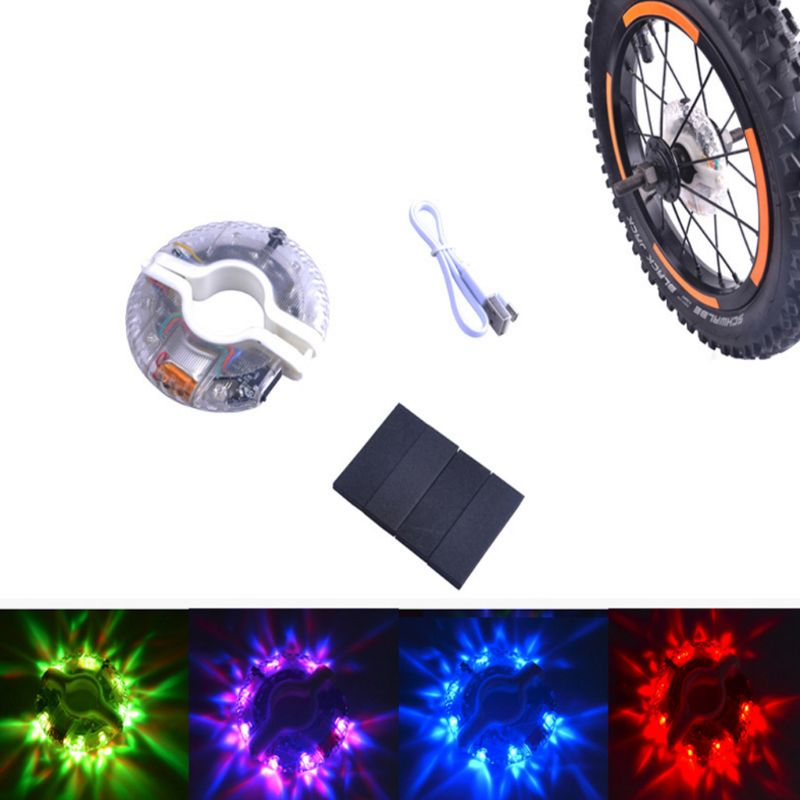 Bicycle Hub Light Spoke Lamp Colorful Cool USB Rechargeable Waterproof Scooter Bike Kids Warning Cycling Safety LED Flashlight|Bicycle Light|   - title=