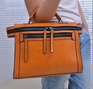 2013 fashion double zipper women's handbag wax vintage handbag one shoulder small bag motorcycle