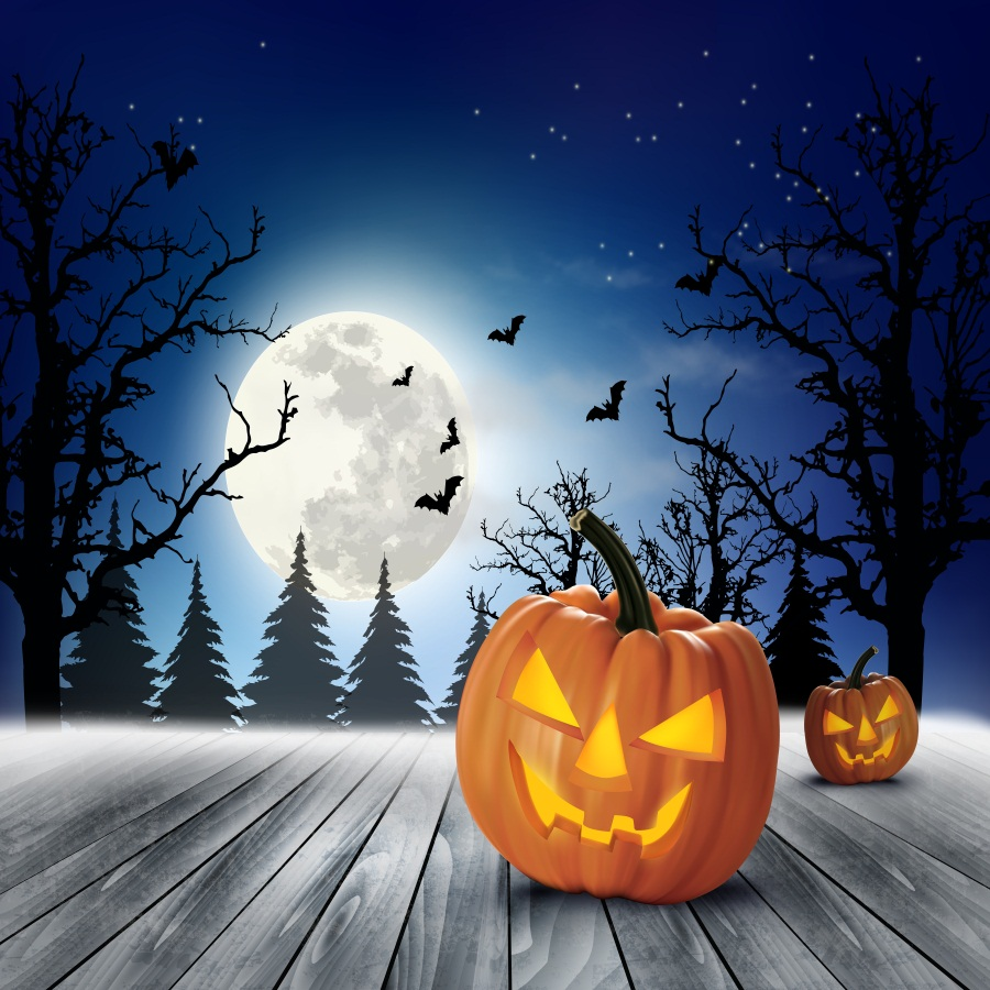 Laeacco Halloween Pumpkin Lamp Wood Floor Photo Backgrounds Customized Vinyl Digital Photography Backdrops For Photo Studio