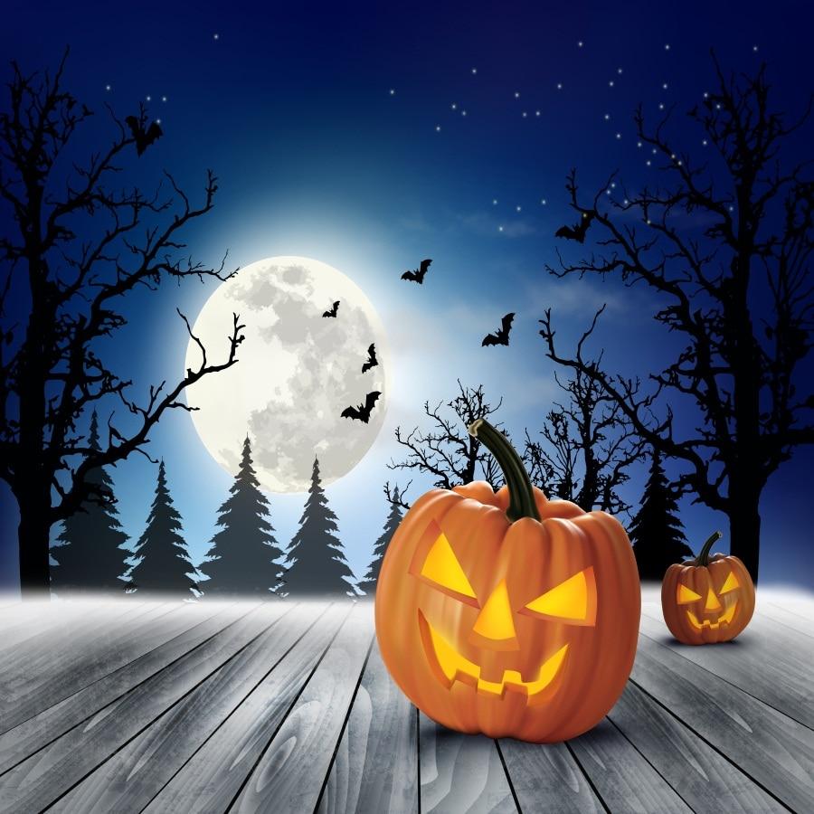 Laeacco Halloween Pumpkin Lamp Wood Floor Photo Backgrounds Customized Vinyl Digital Photography Backdrops For Photo Studio
