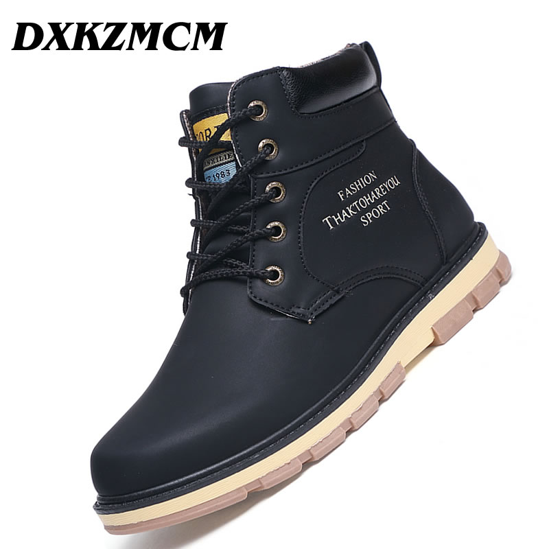 b68d21dcd4a DXKZMCM Warm Men Winter Boots High Quality PU Leather Wear Snow Boot Casual  Shoes Working Fahsion Fur Men's Boot-in Snow Boots from Shoes on ...
