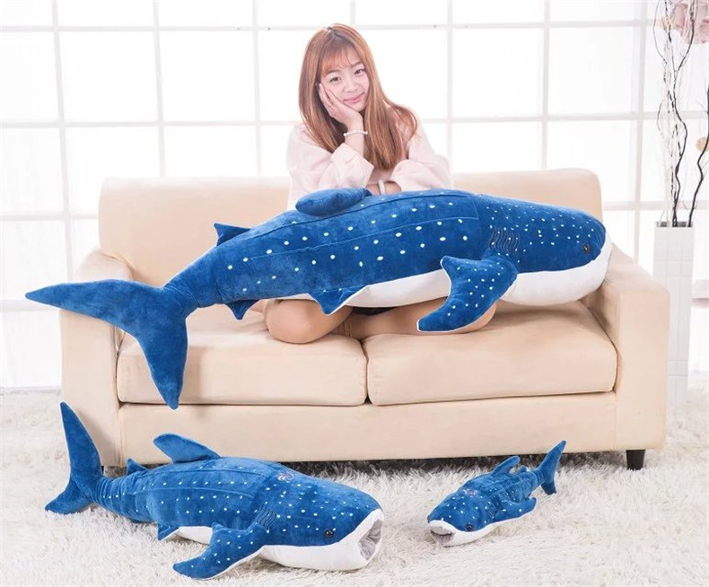 cartoon dark <font><b>blue</b></font> <font><b>whale</b></font> <font><b>plush</b></font> doll soft throw pillow toy birthday gift h2828 image