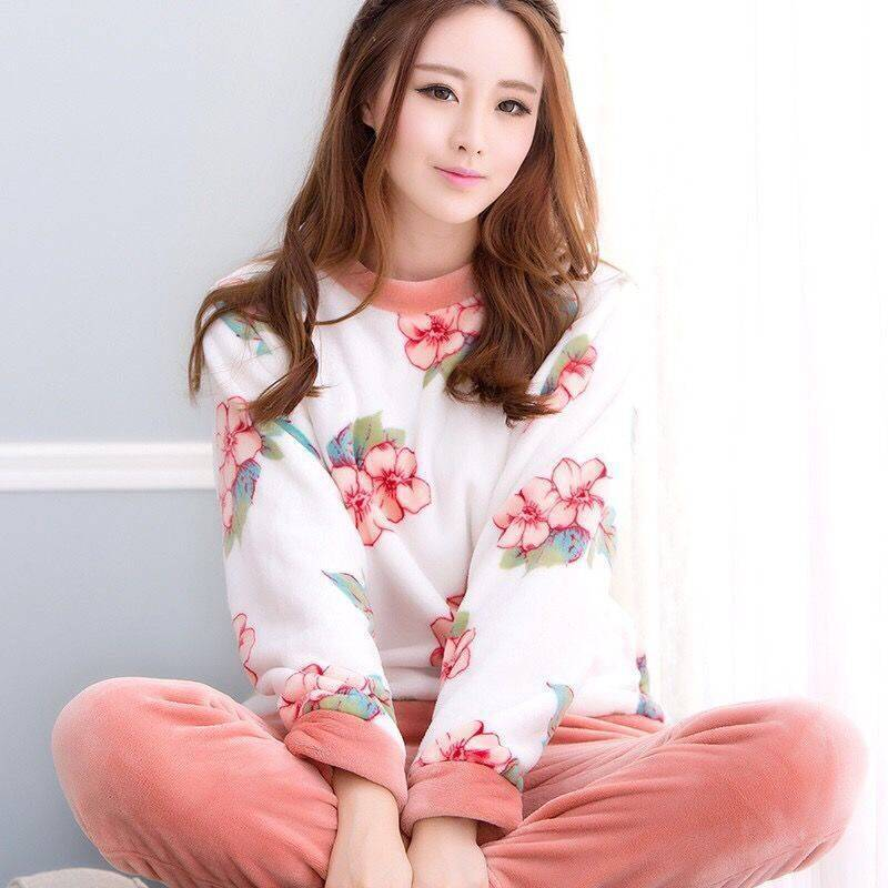 Winter Women   Pajama     Sets   Female Flannel Round Neck Home Cloth Thick Warm Suit long Sleeve Warm Pyjama Sleepwear NightWear