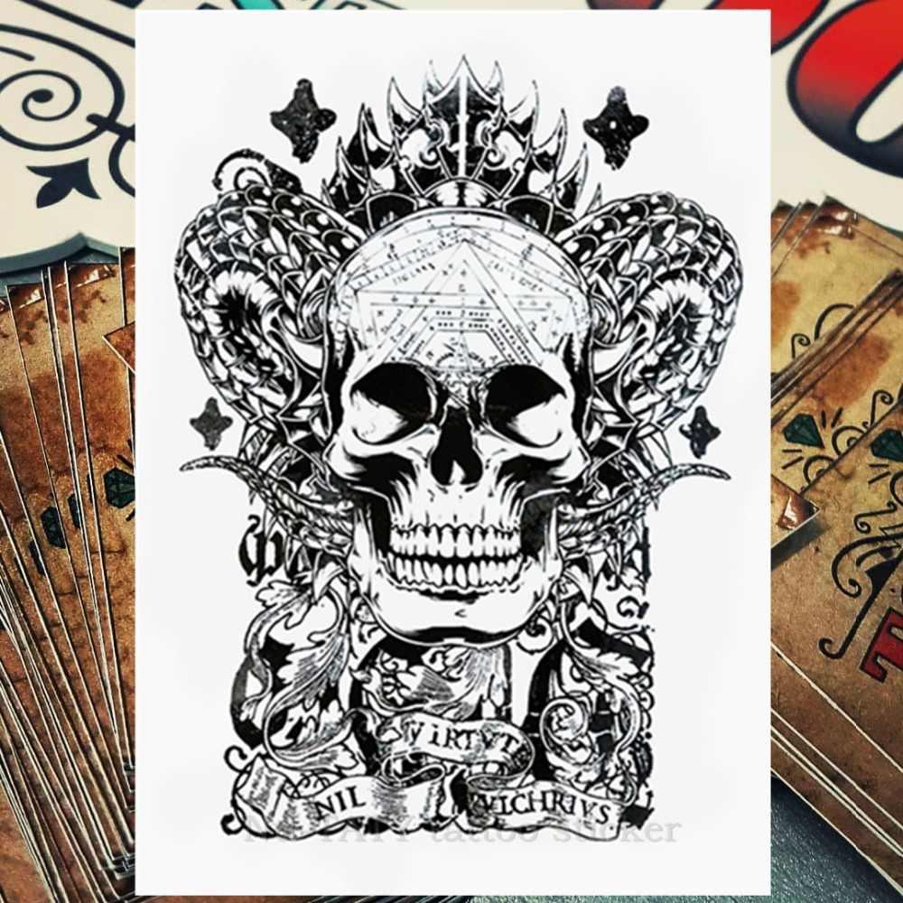 e670a4061 Nu-TATY Satan The Demon Temporary Tattoo Body Art Flash Tattoo Stickers  21*15cm