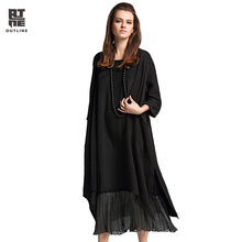 Outline Women Summer Cardigan Lady Loose Long Blouses Vintage Embroidery Shirt Plus Size Solid Split Irregular Hem Coat L172Y003