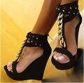 Черный Толстый Сандалии Платформы Лодыжки Ремень Т-ремень Открытым Носком Женщин 2015 Летний Стиль Обувь Клин Пятки Женщин Реального Изображения Клин сандалии