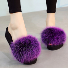 Для женщин лисий мех тапочки натуральный мех шлепанцы пляжные сандалии плюшевый мохнатый Летние тапочки Уличная обувь летние Flat Slide толстый каблук