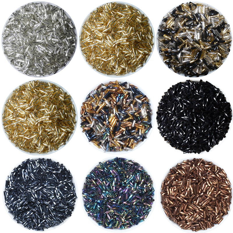 Gold/Silver/Black/Gunblack 500PCS Silver Lined Bugle Czech Glass Seed Spacer Beads Austria Crystal 2x6mm Long Tube Beads For DIY(China)