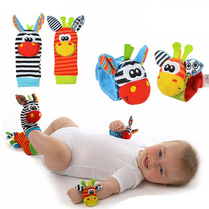 2pcs Baby Toys Soft Hand Wrist Foot Bells With Sound Animal Cartoon Gift Baby Wrist Socks 0-12 Months Plush toy(China)