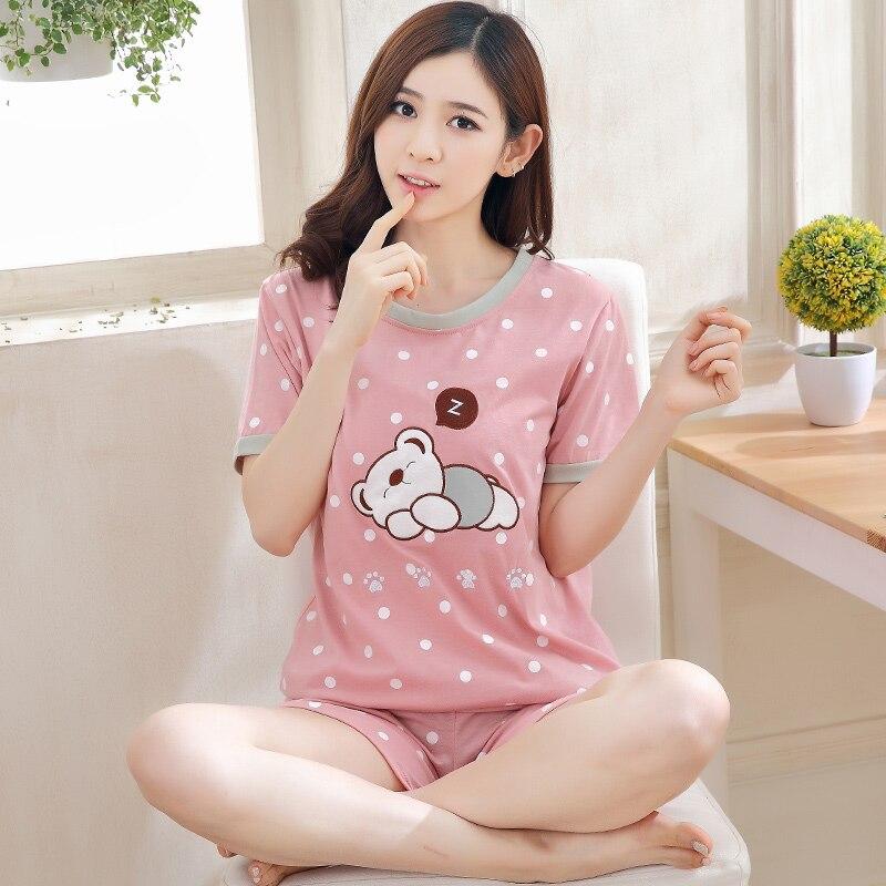 Summer Short Sleeve Thin Cartoon Print Loose Sleepwear Girl Pijamas Mujer Leisure Nightgown Women Hot Sale Women Pajamas Sets