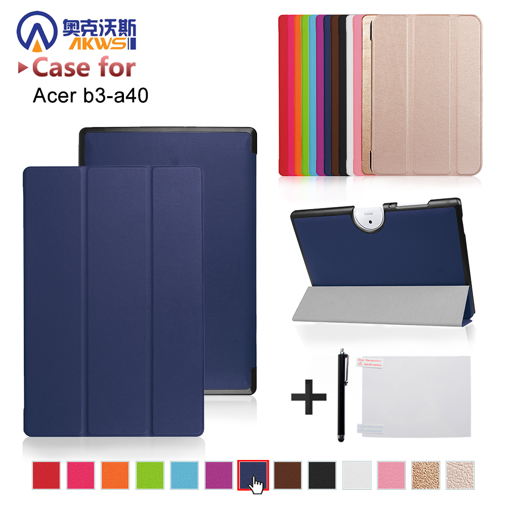 Funda cover case For 2017 Acer Iconia One 10 B3-A40 tablet protective cover skin+free gift slim print case for acer iconia tab 10 a3 a40 one 10 b3 a30 10 1 inch tablet pu leather case folding stand cover screen film pen