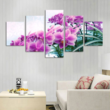 2016 Top-rated 5 Piece Orchid Flowers Modern Home Wall Decor Canvas Picture Art Hd Print Painting Unframed Living Room Backdrop