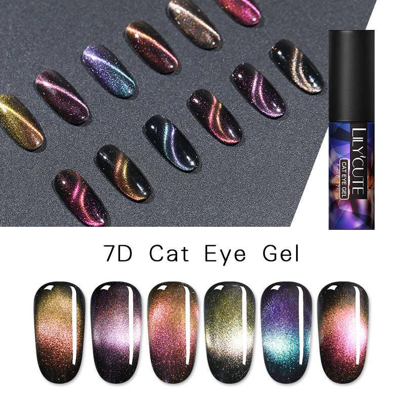 Lilycute 9D Cat Eye Gel Polish Chameleon Magnetic Gel Tahan Lama Bersinar Laser Mata Kucing Kuku Seni Rendam Off UV LED Gel Varnish