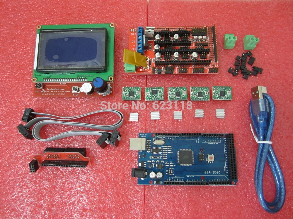 1pcs Mega 2560 R3 + 1pcs RAMPS 1.4 Controller + 5pcs A4988 Stepper Driver Module /RAMPS 1.4 12864 LCD control for 3D Printer kit