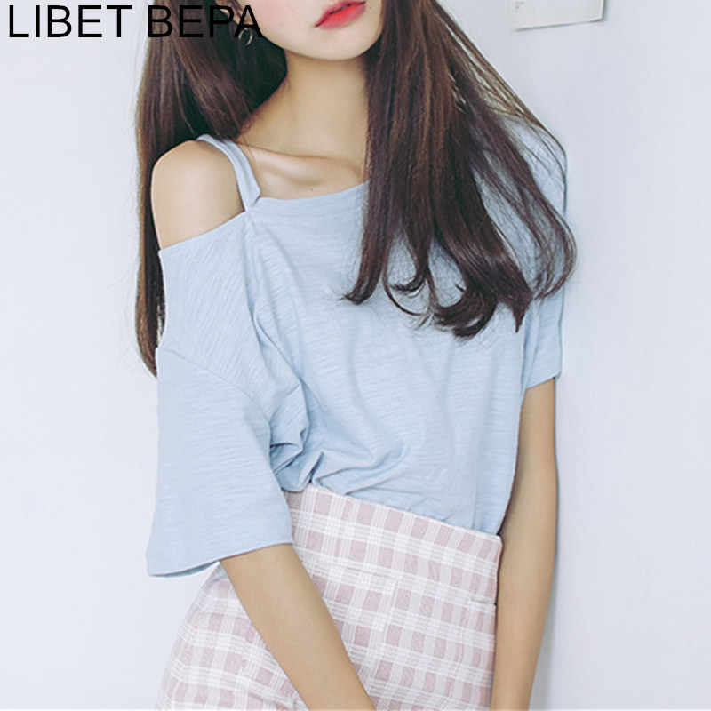 New 2019 Spring Summer Women Tops Streetwear Casual Fashion Hollow Out Drop Shoulders Camis Lace Up O-NeckT-Shirt T840