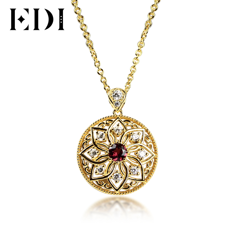 EDI 18K Gold Plated Natural Red GarPendant Necklace 925