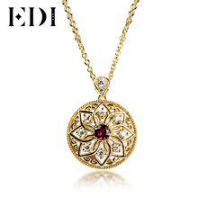 EDI 18K Gold Plated Natural Red Garnet Pendant Necklace 925 Sterling Silver Classic Original Design Pendant for Wedding Gift