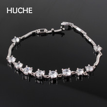 HUCHE Simple AAA Crystal Bracelets For Women White Gold Color Gold Color Copper Luxury Fashion Jewelry HYJL011