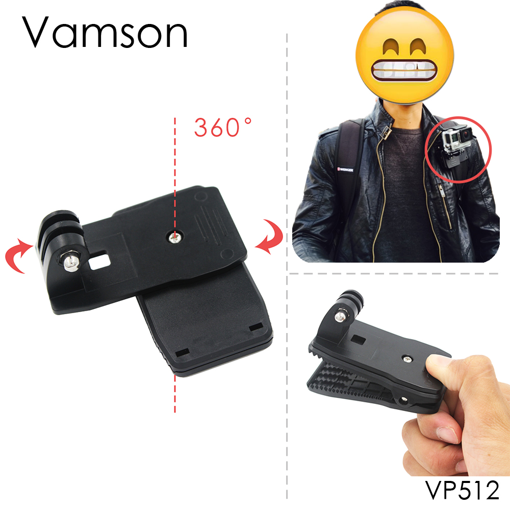 Vamson for Go Pro Accessories 360-Degree Rotation Clip For GoPro Hero 6 5 4 3+ 3 2 1 for Xiaomi yi for SJCAM for SJ4000 VP512 gopro accessories head belt strap mount adjustable elastic for gopro hero 4 3 2 1 sjcam xiaomi yi camera vp202 free shipping