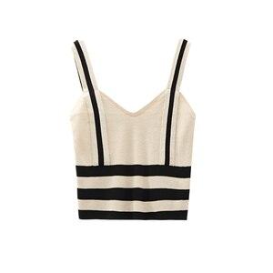 Image 5 - קיץ נשים אופנה סריגה פס טנק יבול חולצות נקבה סרוג נמתח קצוץ חולצה לא קצר שרוולים חולצות