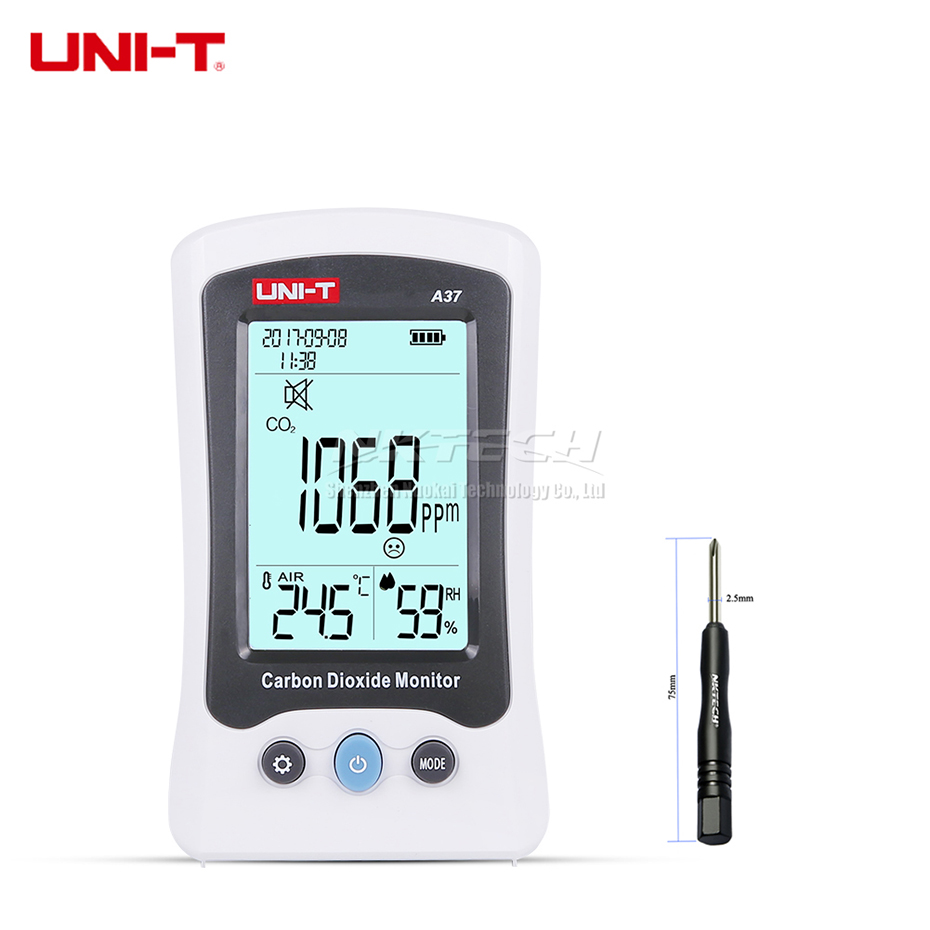 UNI-T A37 Digital Carbon Dioxide Detector Laser Air Quality Monitoring Home Meter CO2 Detection 400-5000PPM Temperature Humidity pm2 5 detector home indoor laser haze monitoring air quality monitoring instrument