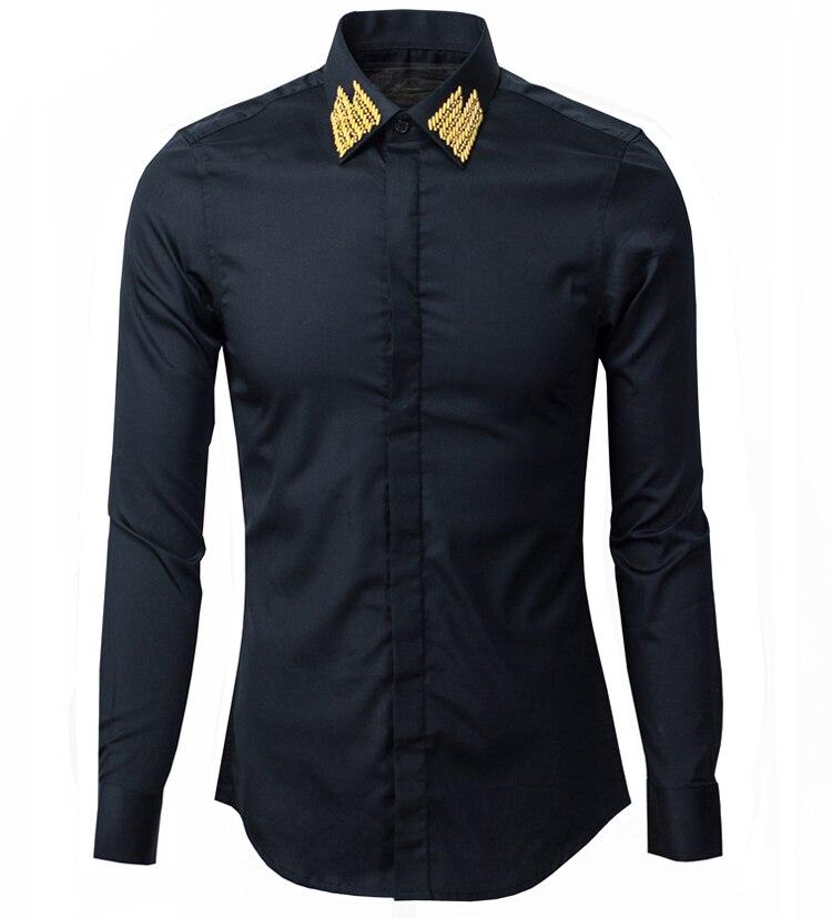 Mode décontracté fait main soie cravat mâle or col chemise slim haute qualité 100% coton à manches longues taille M L XL XXL XXXL