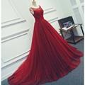New Dark Red Lace Tulle Pesado Beading Pérolas vestido de Baile Mangas Longas vestido de Noite Vestidos de Festa de Casamento do baile de Finalistas Feito Sob Encomenda
